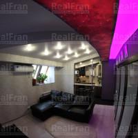 Комбинированный натяжной потолок с RGB подсветкой и имитацией звёздного неба