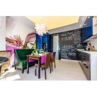 Многоуровневый натяжной потолок для проекта Школа Ремонта - Кухня из коллекции Зима- Лето