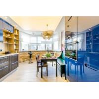 Светопрозрачный натяжной потолок для проекта Школа Ремонта - Кухня из коллекции Зима- Лето