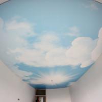 натяжной потолок с фото печатью небо