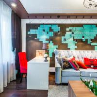 комбинированный натяжной потолок в гостиную