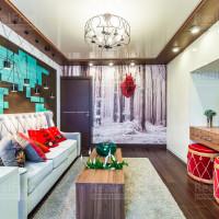 потолок глянцевый комбинированный в гостиной