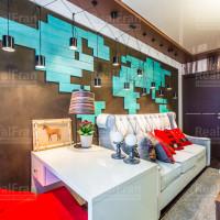 гостиный натяжной потолок глянец комбинированный