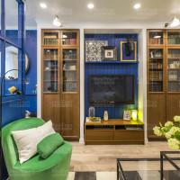 дизайнерский интерьер натяжной потолок с точечным освещением