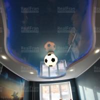 Натяжной двухуровневый потолок с подсветкой в детскую