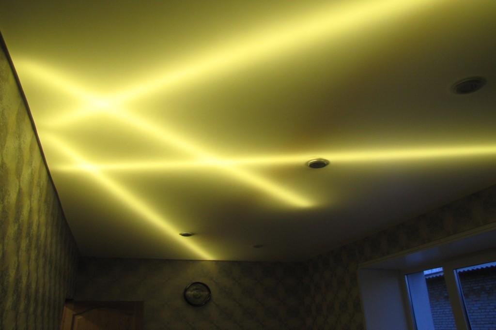 Светодиодная подсветка натяжного потолка фото