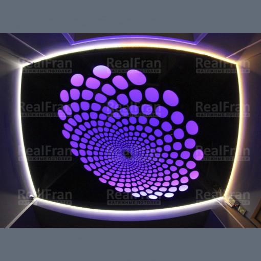 Парящий натяжной потолок с 3D перфорацией и с RGB подсветкой