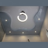 Двухуровневый криволинейный комбинированный натяжной потолок с установкой 1м2