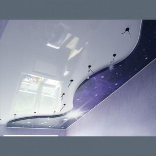 """Двухуровневые потолки  фотопечать """"Звёздное небо"""" с установкой 1м2"""