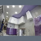 Глянцевые натяжные потолки со спайкой с установкой 1м2