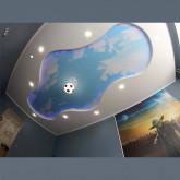 """Комбинированные двухуровневые потолки фотопечать """"Небо"""" с установкой 1м2"""