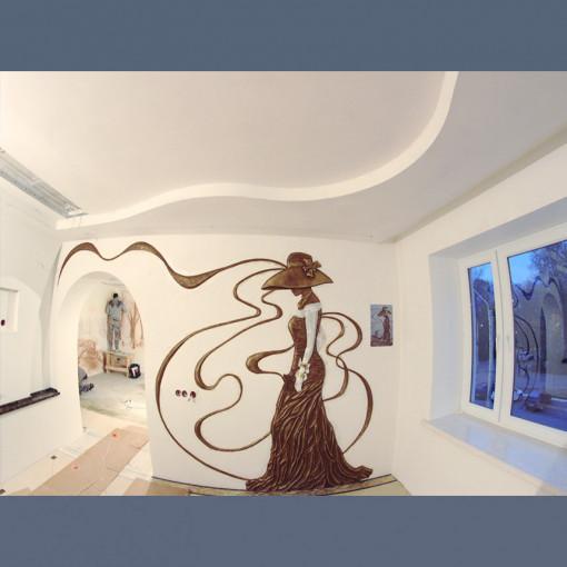 Потолок двухуровневый комбинированный ГКЛ+ПВХ 1м2
