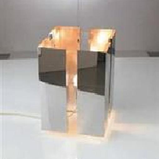 1069 Светильник настольный Raum T2, E27, 1х, 31,5х20х20, серебро