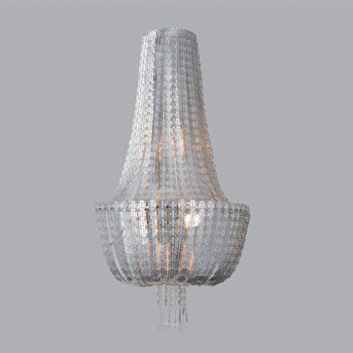 1231 Светильник подвесной Geflecht C1 SL, E14, 3х40Вт, 200 (макс)х44,5, серебро