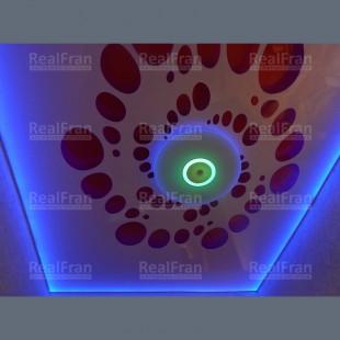 """Натяжной потолок """"НЛО"""" - 3D перфорация с подсветкой"""