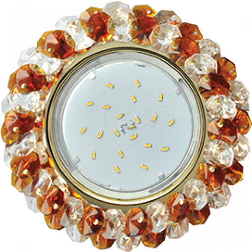 FA53RYECB Встраиваемый светильник Ecola GX53 H4 Glass золото/прозрачный - янтарь FA53RYECB