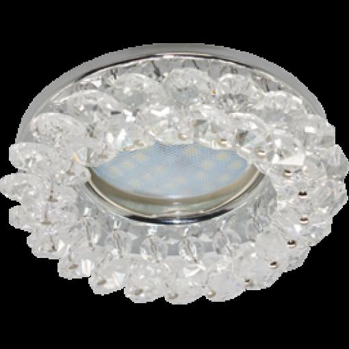Ecola Light MR16 CD4141 GU5.3 Светильник встр. круглый с хрусталиками Прозрачный/Хром 50x90