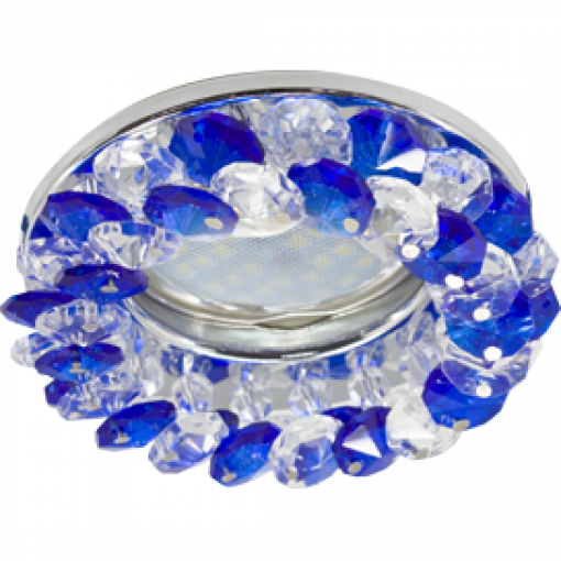 Ecola Light MR16 CD4141 GU5.3 Светильник встр. круглый с хрусталиками Прозрачный и Голубой/Хром 50x90