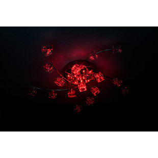 Потолочная люстра с подсветкой и пультом ДУ 4976/16 хром / синий + красный + фиолетовый