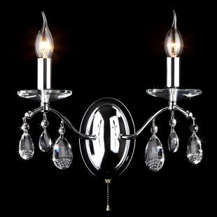 Бра в классическом стиле с хрусталем 10059/2 хром/прозрачный хрусталь Strotskis