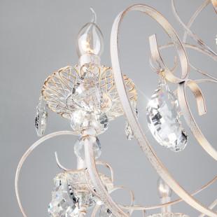 Люстра с хрусталем 3305/8 белый с золотом / прозрачный хрусталь