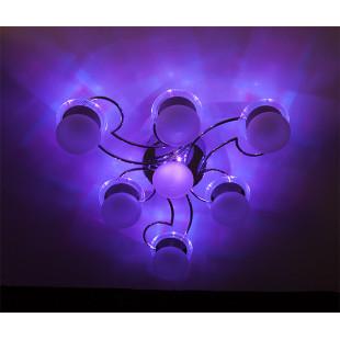 Потолочный светильник с пультом 4998/7 хром / синий + красный + фиолетовый