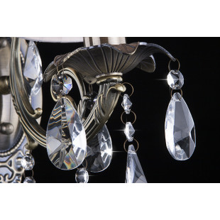 Настенный светильник 3646/1 античная бронза/прозрачный хрусталь