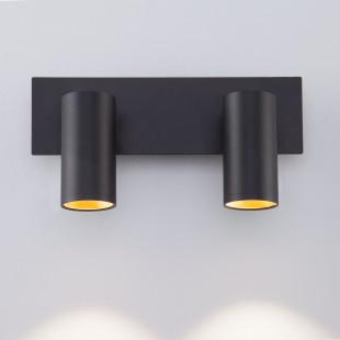 Светодиодный настенный светильник с поворотными плафонами 20066/2 черный/золото