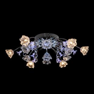 Люстра потолочная со светодиодной подсветкой и пультом 4928/13 хром / бело-голубой
