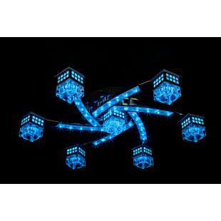Светильник с LED подсветкой и пультом ДУ 4939/7 хром / синий + красный + фиолетовый