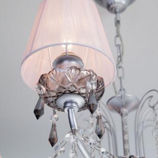 Подвесная люстра с хрусталем 10086/8 серебро/дымчатый хрусталь Strotskis