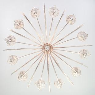 Люстра с хрусталем 3305/12 белый с золотом / прозрачный хрусталь