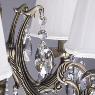 Люстра с хрусталем 3646/5 античная бронза / прозрачный хрусталь