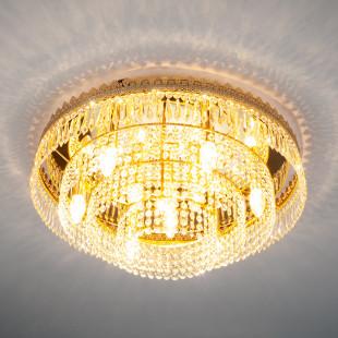 Потолочная люстра с хрусталем 10078/10 золото/прозрачный хрусталь Strotskis
