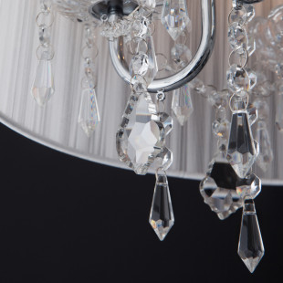 Подвесная люстра с абажуром 2045/5 хром/белый
