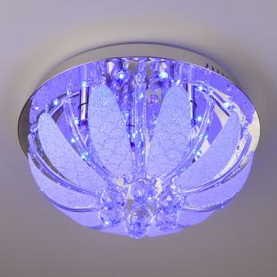 Люстра потолочная с хрусталем и пультом 5570/5 хром / синий + красный + фиолетовый