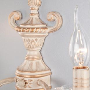 Настенный светильник 3641/2 белый с золотом / прозрачный хрусталь