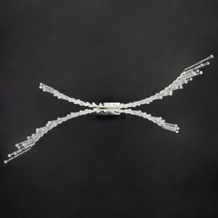 Светодиодная люстра с хрусталем и пультом 90035/2 хром