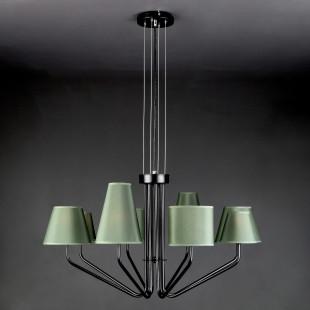Подвесная люстра с зелеными абажурами 70074/8 черный