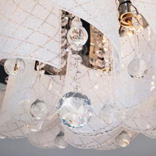 Люстра потолочная с хрусталем и пультом управления 80117/9 хром/белый