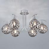 Потолочная люстра со стеклянными плафонами 70102/6 серебро