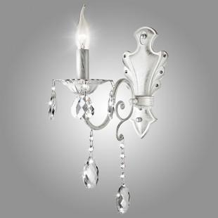 Бра с хрусталем 10064/1 белый с серебром