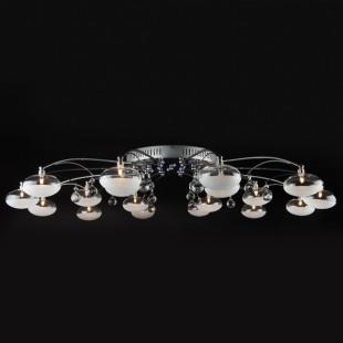 Люстра потолочная с LED подсветкой и пультом 4894/18 хром / синий + красный + фиолетовый