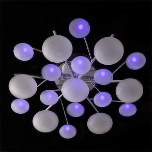 Потолочная люстра с пультом ДУ 5605/7 хром / синий + красный + фиолетовый