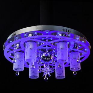 Люстра со светодиодной подсветкой и пультом 70202/7 хром / синий + красный + фиолетовый
