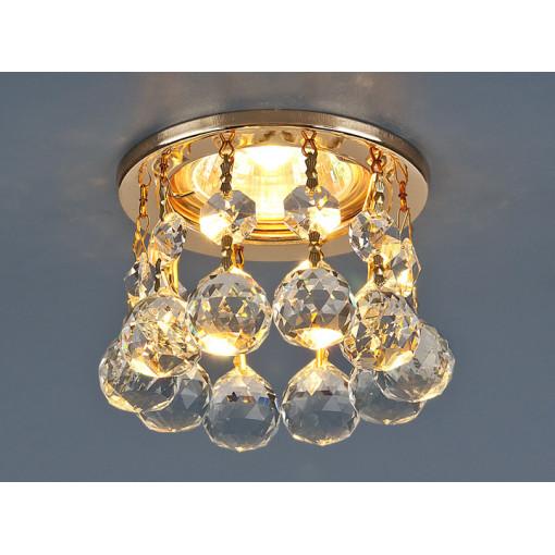 Светильник точечный с хрусталем 2051 MR16 GD/CL золото/прозрачный