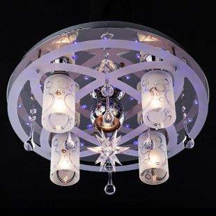 Светильник с подсветкой и пультом 70202/5 хром / синий + красный + фиолетовый