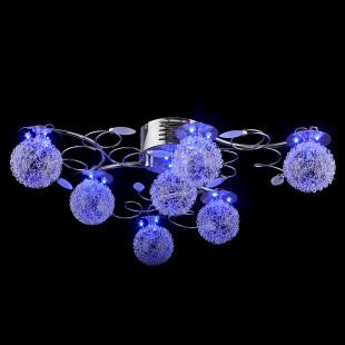 Галогенная люстра с пультом 4830/7 хром / синий + красный + фиолетовый