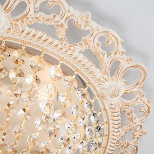 Люстра с хрусталем 3298/5 белый с золотом / прозрачный хрусталь