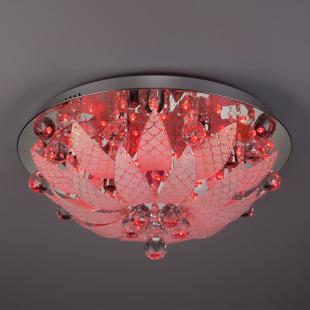 Потолочный светильник с хрусталем и пультом 5563/6 хром / синий + красный + фиолетовый